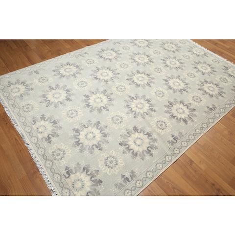 Contemporary Medallion Burst Pure Wool Area Rug (6'x9') - Dark Grey/Light Grey - 6' x 9' - Dark Grey/Light Grey - 6' x 9'