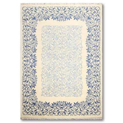 Transitional Botanical Chinese Art Deco Oriental Area Rug (6'x9') - Off White/Light Blue - 6' x 9'