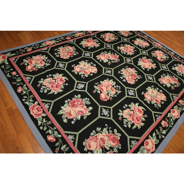 Traditional Pure Wool Floral Hexagons Hand Woven Needlepoint Area Rug - multi
