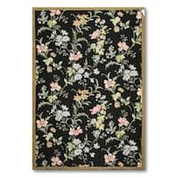 Country Cottage Floral Hand Woven 100% Wool Needlepoint Area Rug - 6'x9'