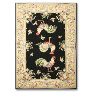Rustic Farmhouse Rooster Country Needlepoint Area Rug (4'x6')