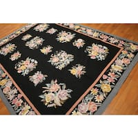Hand Woven Floral Botanical Border Needlepoint Area Rug - multi