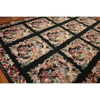 Pure Wool Floral Squares Hand Woven Needlepoint Area Rug - multi