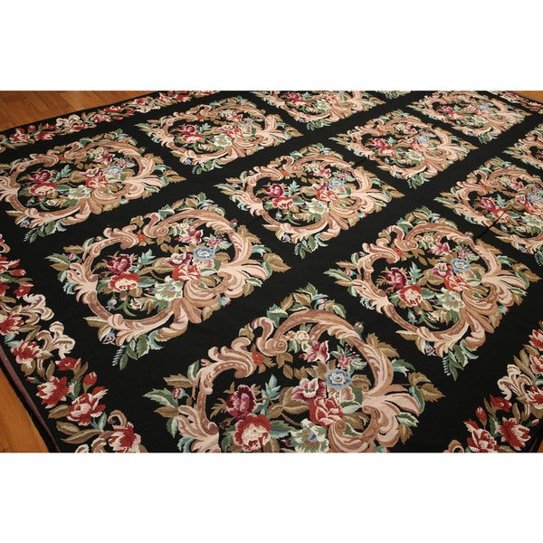 Pure Wool Floral Squares Hand Woven Needlepoint Area Rug - 10'x14'
