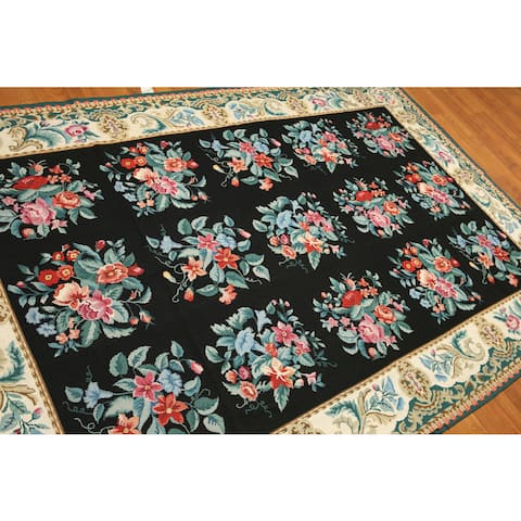 Ornamental Floral Traditional Needlepoint Area Rug - Black/Ivory - 6' x 9' - 6' x 9'