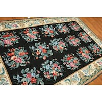 Ornamental Floral Traditional Needlepoint Area Rug - multi