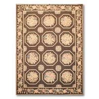 "Pure Wool Hand Woven Traditional Needlepoint Area Rug - 5'2""x7'6"""
