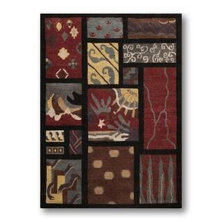 Contemporary Modern Garnet Mosaic Tufenkian Tibetan Area Rug (6'x9')