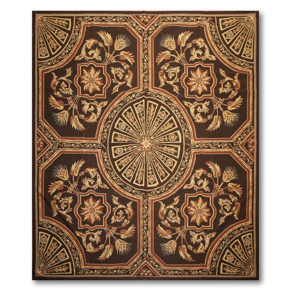 Traditional Formal Pure Wool Needlepoint Area Rug - 8'x10'