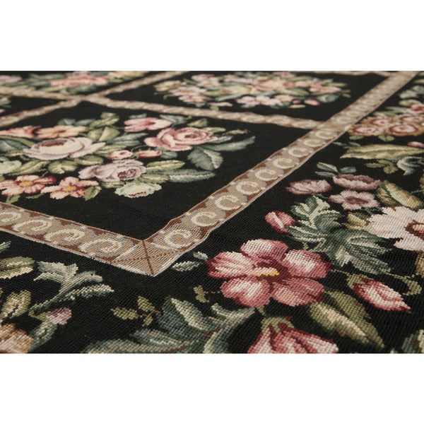 Classic French Country Traditional Needlepoint Area Rug - Black/Brown - 10' x 10'