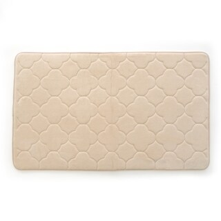 "Stephan Roberts Embroidered Memory foam Bath Mat, Tapioca, 24"" x 40"""