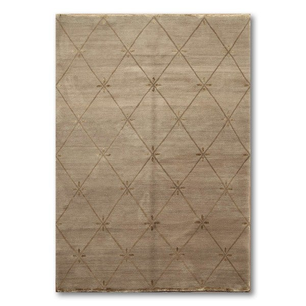 Hand Knotted Ash Quilted Tufenkian Barbara Barry Tibetan Area Rug Multi