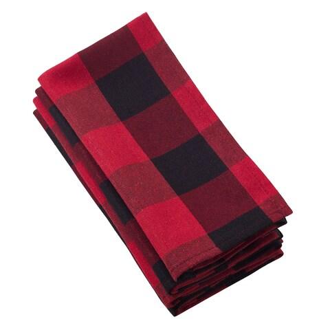 Buffalo Plaid Check Pattern Design Cotton Napkin (Set of 4)