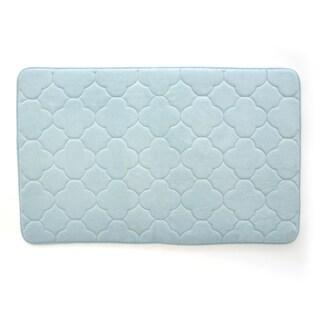 "Stephan Roberts Embroidered Memory foam Bath Mat, Sterling Blue, 24"" x 40"" - 24 x 40"