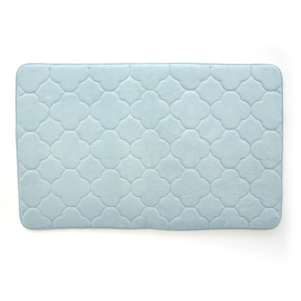 Stephan Roberts Embroidered Memory Foam Bath Mat, Sterling Blue, ...