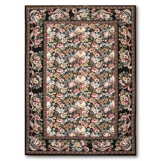 Hand Woven French Country Victorian Needlepoint Aubusson Area Rug (5'x8')