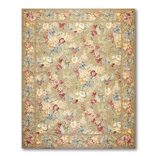 Rustic Country Cottage Hand Woven Needlepoint Aubusson Area  Rug  (8'x10')