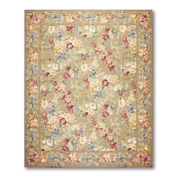 Rustic Country Cottage Hand Woven Needlepoint Aubusson Area Rug