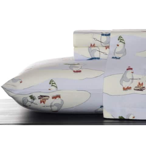 Eddie Bauer Skating Penguins Sky Bed Sheet Set