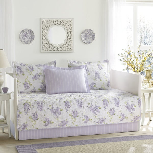 Shop Laura Ashley Keighley Lilac 5 Piece Daybed Cover Set