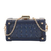 Diophy Solid Animal Print Pattern Structured Clutch
