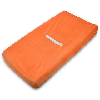 American Baby Company Heavenly Soft Chenille Fitted Contoured Changing Pad Cover - Orange - 2 Pack