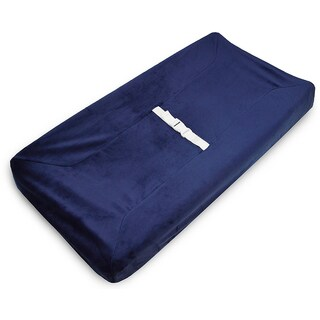American Baby Company Heavenly Soft Chenille Fitted Contoured Changing Pad Cover - Navy - 2 Pack