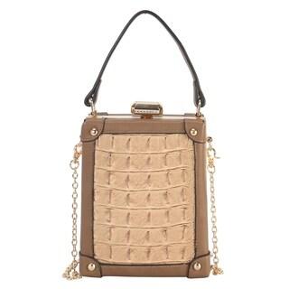 Diophy Solid Animal Print Pattern Structured Top Handle Handbag