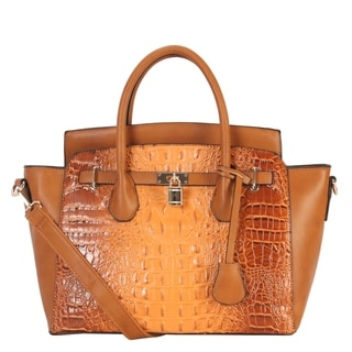 Diophy Solid Animal Print Pattern Front Lock Trapeze Tote