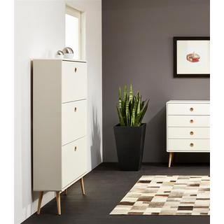 Scandinavian Living Softline Matte White Shoe Cabinet with 3 Flaps