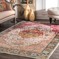 nuLOOM Traditional Vintage Tinted Herati Medallion Orange Rug (9' x 12')