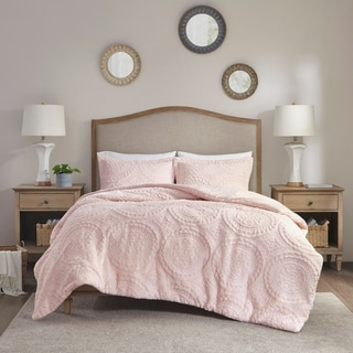 Madison Park Nova Blush Embroidered Medallion Ultra Plush Comforter Mini Set