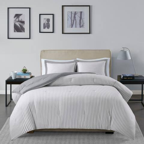 Madison Park Essentials Braydon Grey Reversible Stripe Down Alternative Comforter 3-Piece Set