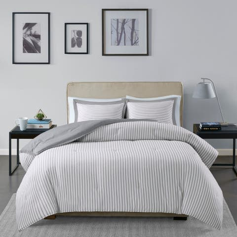 Madison Park Essentials Braydon Reversible Yarn Dyed Stripe Down Alternative Comforter Set