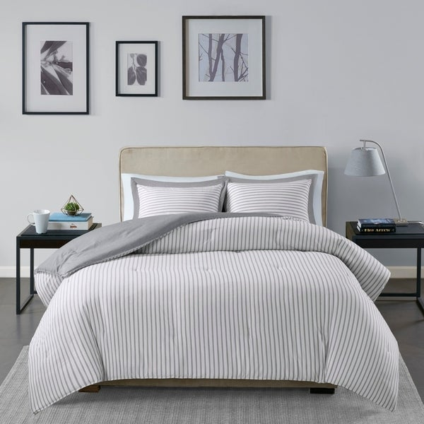 Madison Park Essentials Braydon Reversible Yarn Dyed Stripe Down Alternative Comforter Set