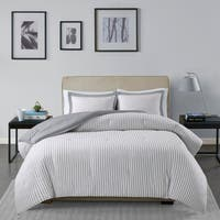 Madison Park Essentials Braydon Grey Reversible Stripe Down Alternative Comforter 3-Piece Set