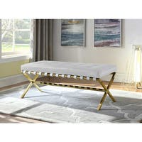 Chic Home Perez PU Leather Modern Contemporary Tufted Seating Goldtone Metal Leg Bench