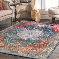 nuLoom Traditional Vintage Tinted Herati Medallion Blue/Multicolor Rug (9' x 12')