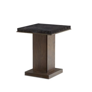 Tao Halton Brown Wood With Marble Top 24-inch Square Accent Table