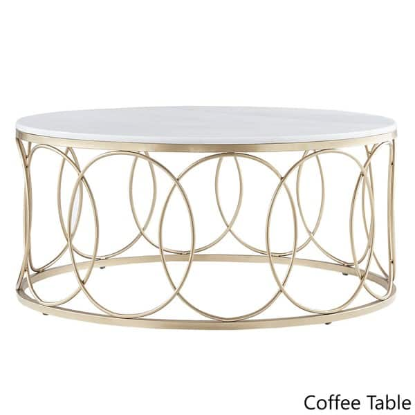 Surprising Shop Lynn Round Gold Accent Tables With Marble Tops By Machost Co Dining Chair Design Ideas Machostcouk