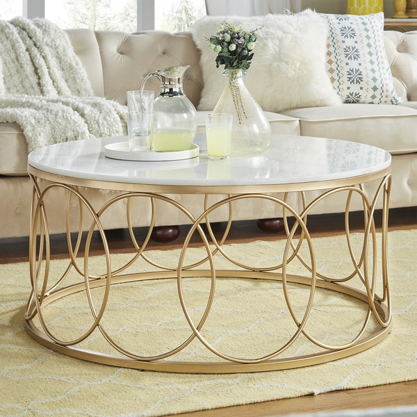 Lynn Round Gold Accent Tables With Marble Tops By Inspire Q Bold
