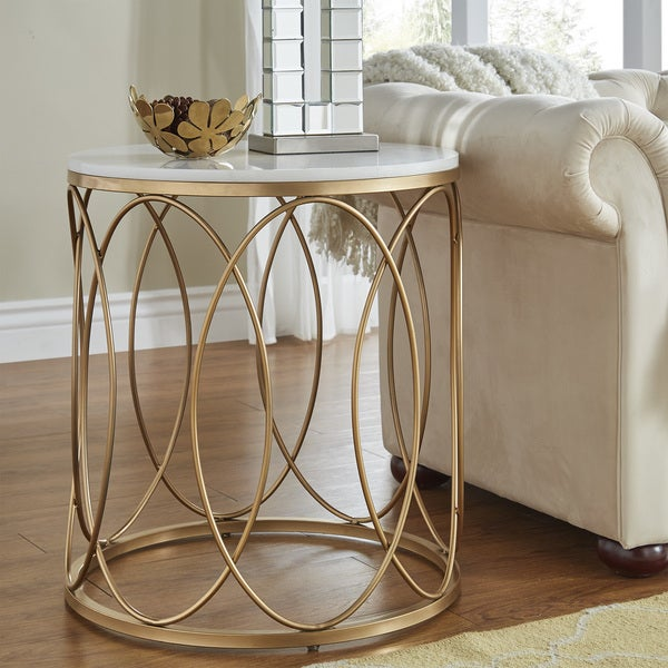 Shop Lynn Round Gold End Table With Marble Top By Inspire Q Bold Overstock 17983082