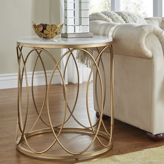 Lynn Round Gold End Table with Marble Top by iNSPIRE Q Bold