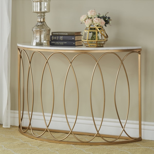 Shop Lynn Rounded Gold Entryway Table With Marble Top By