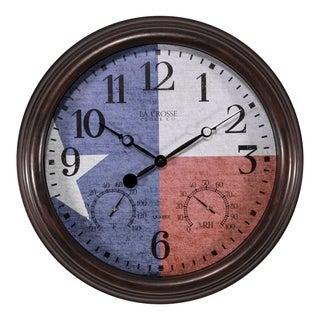 La Crosse Clock 404-3015TXS 15 Inch Indoor/Outdoor Texas Flag Clock with Temperature and Humidity