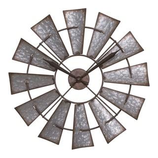 La Crosse Clock 404-3956 22 Inch Metal Windmill Quartz Wall Clock