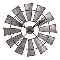 La Crosse Clock 404-3956 22 Inch Metal Windmill Quartz Wall Clock