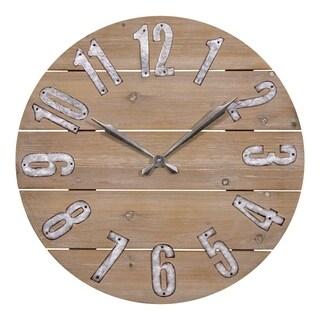 La Crosse Clock 404-3960W 23.5 Inch Round Rustic Wood Quartz Wall Clock
