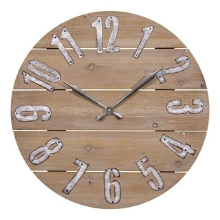 La Crosse Clock 404-3960W 23.5 Inch Round Rustic Wood Quartz Wall Clock