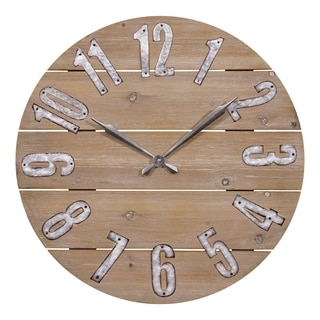 La Crosse Clock 404 3960W 23.5 Inch Round Rustic Wood Quartz Wall Clock
